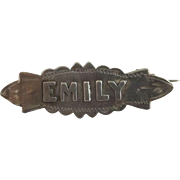 Emily sterling silver name brooch pin antique Victorian 1898 English hallmark.
