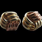 3 colour 9k gold lovers knot stud earrings Vintage c1980.