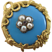 Enamel seed pearl ruby paste 18k gold French brooch pin antique Victorian c1880.