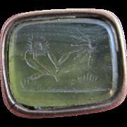 Intaglio chalcedony seal 9k gold cased fob pendant antique Victorian c1840.