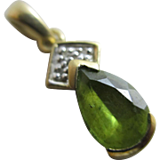 Peridot diamond 9k gold pendant vintage English hallmark.
