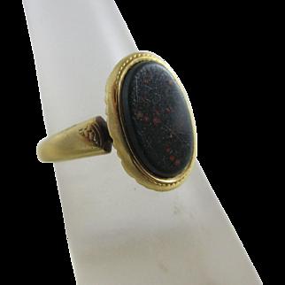 Bloodstone 18k gold signet ring antique Victorian c1890.