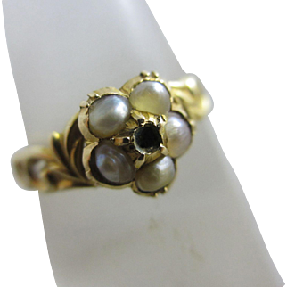 Seed pearl 18k gold locket mourning ring antique Victorian c1840.