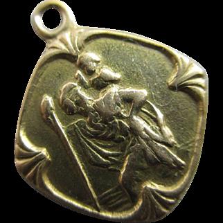 St Christopher 9k gold pendant charm vintage 1963 English hallmark.