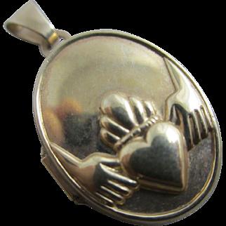 Irish Claddagh 9k gold double pendant locket vintage c1980 English hallmark.