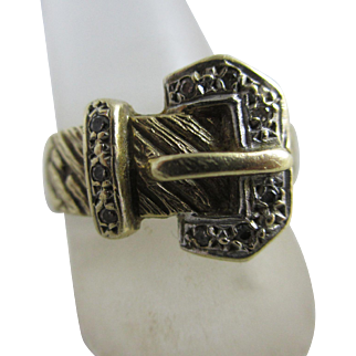 Faux diamond 9k gold buckle ring Vintage c1970.