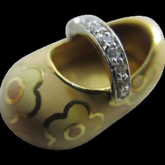 Enamel flower 18k gold shoe pendant charm vintage c1980 by Aaron Basha.