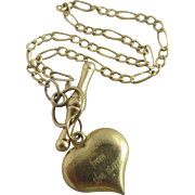Heart Pendant Charm to this 9k Gold Bracelet Vintage c1980.