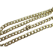"9k Gold Chain Link Necklace 70.0cm / 27.6"" Vintage 1989 English Hallmark."