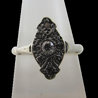 Diamond 18k Gold Platinum Ring Vintage Art Deco c1920.
