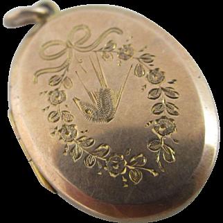 Aesthetic Swallow Chester 9k Gold Pendant Locket Antique Edwardian 1908 English.