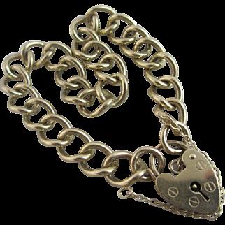 9k Gold Chain Link Charm Bracelet Vintage English Hallmark.