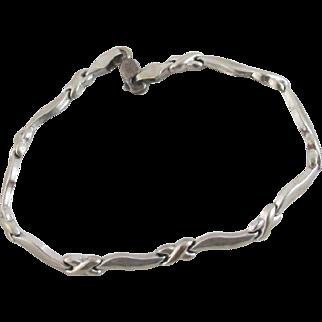 9k White Gold Bracelet Vintage c1980 English Hallmark.