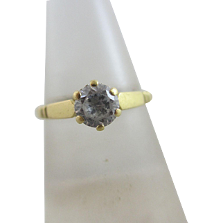 0.5ct Faux Diamond 18k Gold Solitaire Ring Vintage c1980 English Hallmark.