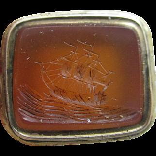 Intaglio Seal Sailing Ship 9k Gold Cased Fob Pendant Antique Victorian c1840.