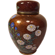 Japanese Cloisonne Ginger Jar with Flowers and Butterflies