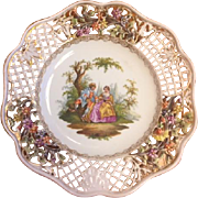 Hand painted reticulated plate by Meissen