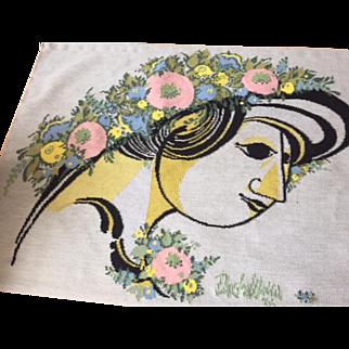 """Bjorn Wiinblad Tapestry 1976 """"Mimo's Summerhat"""" Handwoven"""