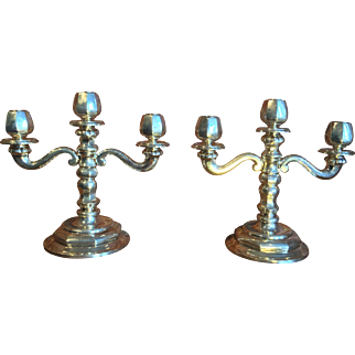 Pair of Wasler Wald & Cia Sterling  Silver Candelabras