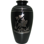 Rockwell black glass with sterling silver overlay, fox hunt scene,