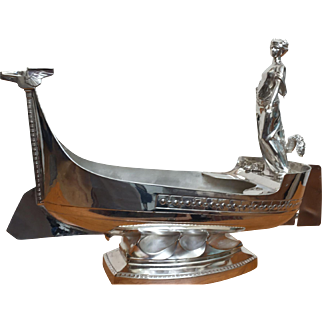 Kayser Deco silver plate wine cooler,Viking  ship w. maiden