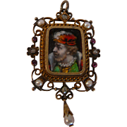 1790s Rare Pre-Georgian Enamel Pendant w Rose Cut Diamonds and Seed Pearls