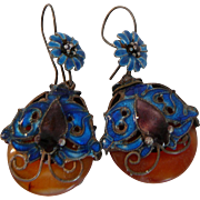 1920s Art Glass Bakelite Earrings