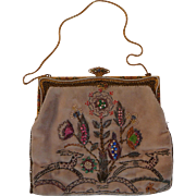 1920s Velvet French Beaded Enamel Bag