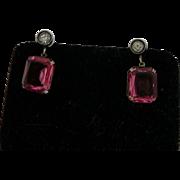 1920's Art Deco Pink Paste Earrings