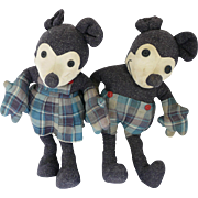 1930s Mickey Mouse and Minnie Mouse Cloth Pattern Dolls 18""
