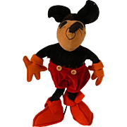 1930 Vintage Mickey Mouse Velvet and Felt Doll 10""