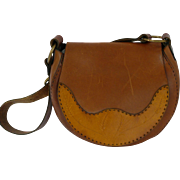 1970s Vintage Tooled  Leather Saddle Bag