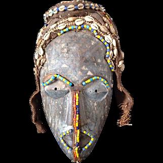Vintage African NAGADI Tribal Mask with Beads, Cloth, Shells, Wood.