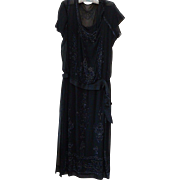 Antique 1920s Art Deco Black Beaded Silk Dress w Original Slip