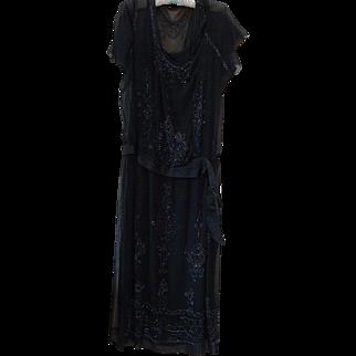 Antique 1920s Art Deco Black Beaded Silk Dress w Original Slip