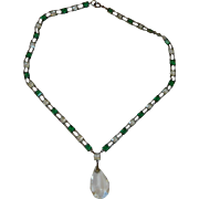 Antique Art Deco Sterling 1920's Green French Paste Drop Necklace