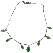 1920s Art Deco Sterling Silver Green Crystal Necklace