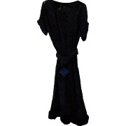 1920s Art Deco Velvet Dress w Blue Rhinestones