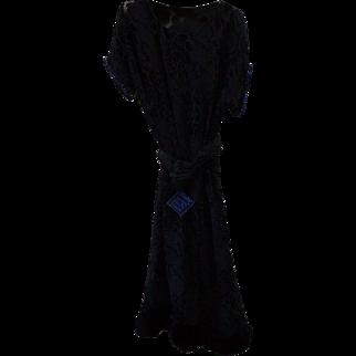 1920s Art Deco Velvet Dress w Blue Rhinestones