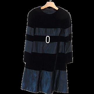 Bob Bugnand Black Velvet and Silk Evening Dress - AMAZING!