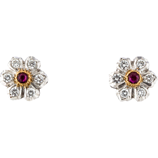Estate Buccellati Ruby and Diamond Floral Ear Studs