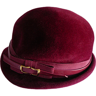 1940s Finley Velvet  Burgundy Hat with Leather Trim