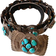 Vintage Sterling Silver Concho Belt w Turquoise Stones