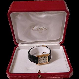 Vintage 1970s Cartier 18k Gold Watch w Black Alligator Band