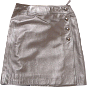Vintage Chanel Silver Leather Skirt Size 42