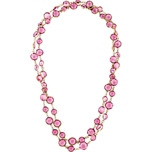 Vintage Chanel Pink  French Crystal Necklace