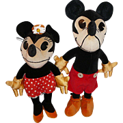 "Rare Charlotte Clark Mickey and Minnie Mouse 12"" Pair"