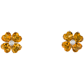 Estate Diamond 4 Carat Citrine Heart 18k Gold Earrings