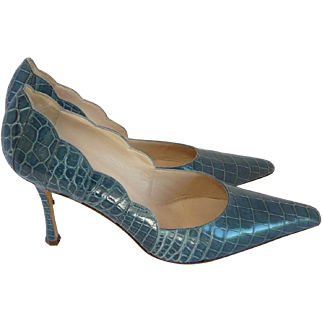Vintage Blue Crocodile Gianni Milanese Pumps SZ 40