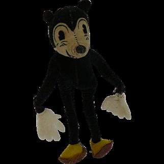 """1930s Deans Rag Mickey Mouse Velvet Doll 8"""""""